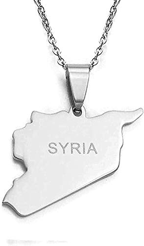 huangshuhua Collar Siria Mapa Collares 316 encantos de Acero Inoxidable Collares Pendientes joyería Siria Regalo de Oriente Medio