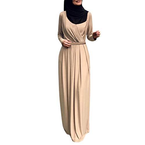 Lazzboy Muslim Frauen Faltenhals Indische Muslimisches Kleid Jilbab Abaya Damen Langarm Tunika Dubai Kleider Maxikleid Hochzeit Kaftan Robe Gewand Gebet Kostüm(Beige,M)