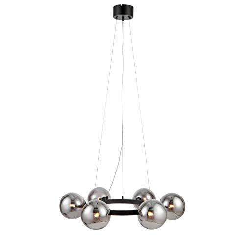 Markslöjd - Lámpara de techo colgante con 6 bombillas para salón, comedor o dormitorio, portalámparas G9 en negro y pantallas de cristal ahumado