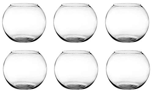 Floral Supply Online - 6' Rose Bowls (Set of 6) and Flower Guide Booklet - Glass Round Vases for Weddings, Events, Decorating, Arrangements, Flowers, Office, or Home Decor.