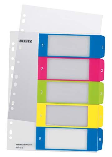 Leitz 12410000 WOW Zahlen Plastikregister (Polypropylen, 1-5, A4, 5 Blatt) farbig