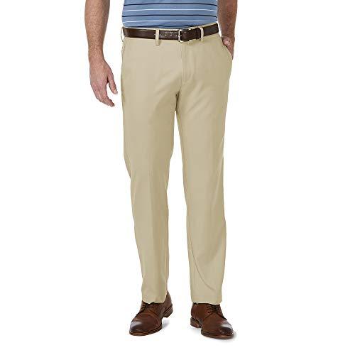 Haggar Men's Cool 18 Pro Straight Fit Flat Front Superflex Waistband Pant, Khaki, 38Wx32L