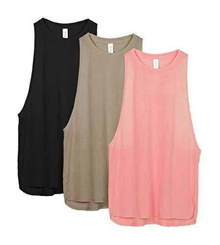 icyzone Sueltas y Ocio Camiseta sin Mangas Camiseta de Fitness Deportiva de Tirantes para Mujer(Paquete de 3) (M, Negro/Beige/Rubor Pálido)