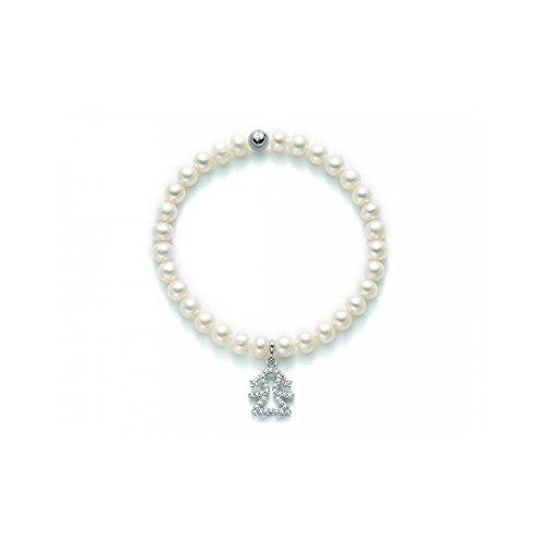 Miluna - Bracciale elastico filo di perle d'acqua dolce 5,5 - 6 Miluna in argento 925%