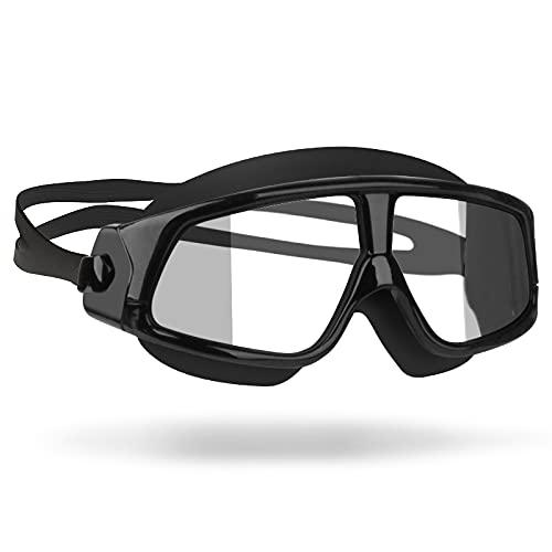 LCBYOG Gafas de natación Cómodo Silicona Marco Gafas Anti-Niebla Hombres Mujeres natación máscara Impermeable Gafas De NatacióN (Color : Transparent Black)