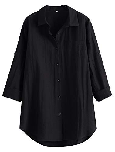 MatchLife Damen Leinen Blusen Elegant Langarm Freizeit Oberteil Lose Langarmshirt Tunika Hemd mit Taschen (2XL(Fit EU44-48), Style1-Schwarz)