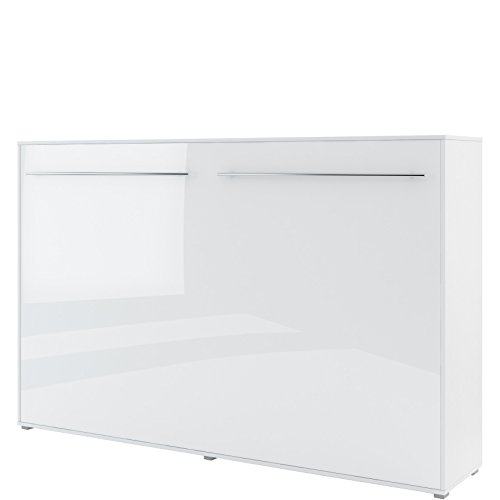 Schrankbett Concept PRO Horizontal, Wandklappbett, Bettschrank, Wandbett, Schrank mit integriertem Klappbett, Funktionsbett (120 x 200 cm, Weiß/Weiß Hochglanz, Horizontal)