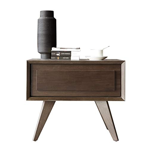 Rowe Moda Nightstands Simple Italiano Moderno Minimalista Multifuncional nórdica Económica de Madera sólida Gabinete de la cabecera (Color : 3709A Walnut)
