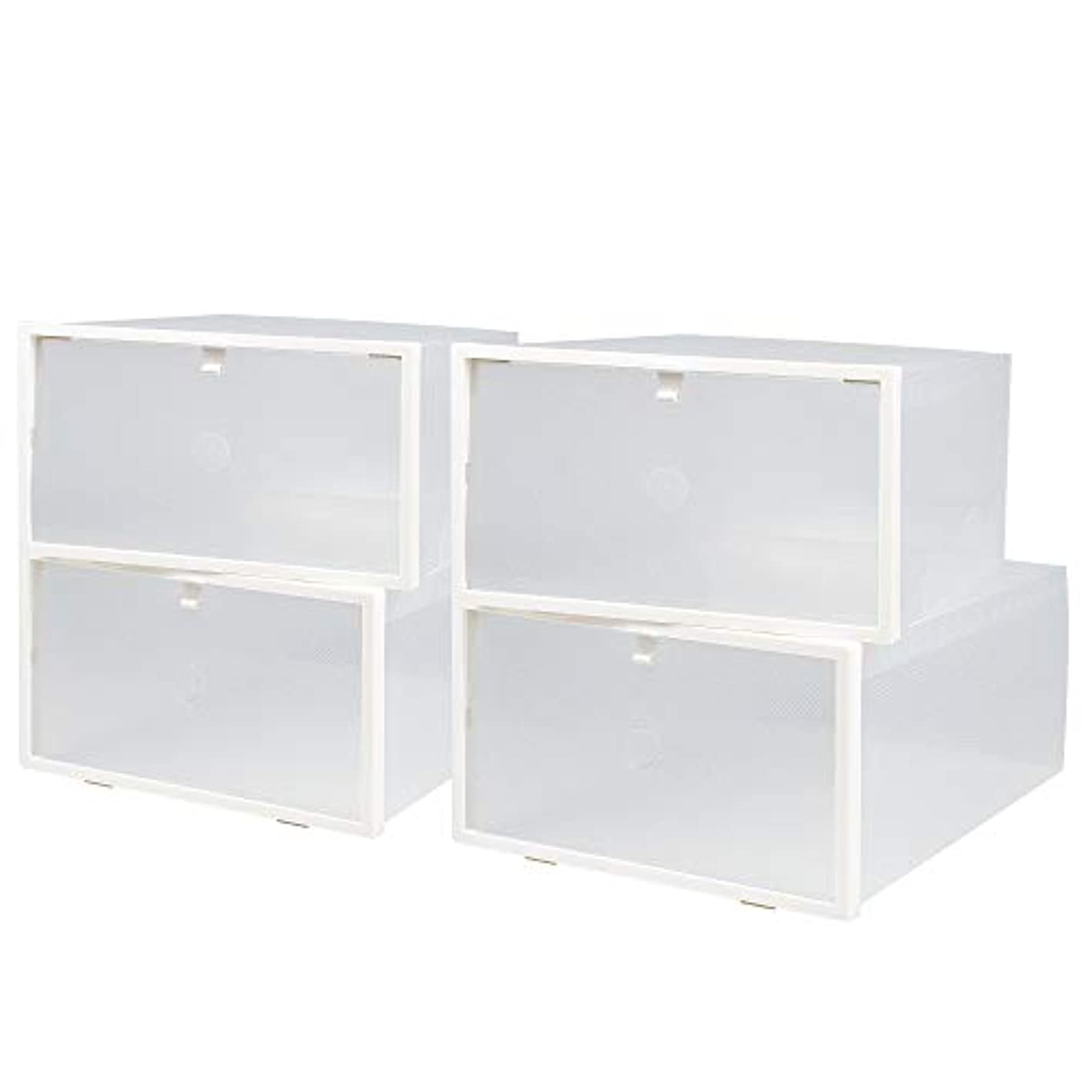 NEXTCOVER Women's Clear Stackable Shoe Storage Box -4 Pack,Clear,NMCB21830.
