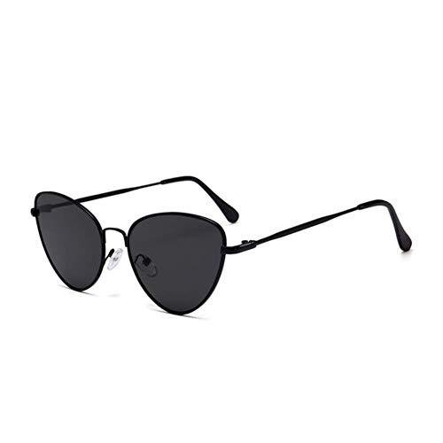 UKKD Gafas De Sol Mujeres Pequeña Vintage Gato Ojo Gafas De Sol Mujeres Vintage Rojo Negro Sol Gafas Hembra Damas Cateyes Sol Gafas De Sol-Black Gray