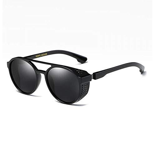 SHENY Gafas De Sol Hombres Polarizadas Redondas Steampunk Espejo Retro Gafas De Sol Marca Vintage HD Driving Uv400 C4 Negro