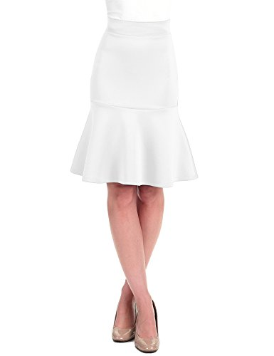 Lock and Love LL WT1471 Womens High Waist Bodycon Fishtail Midi Skirt L White
