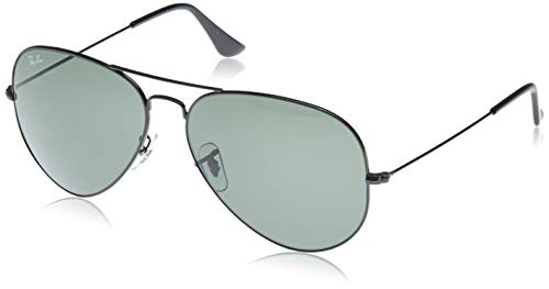 Ray-Ban RB3026 Large Metal II Aviator Sunglasses, Black/Green, 62 mm