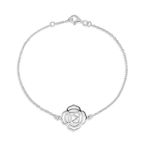 WithLoveSilver de plata de ley 9257chakras Yoga de la flor de la vida Link pulseras 7'con extensor de 0.5'