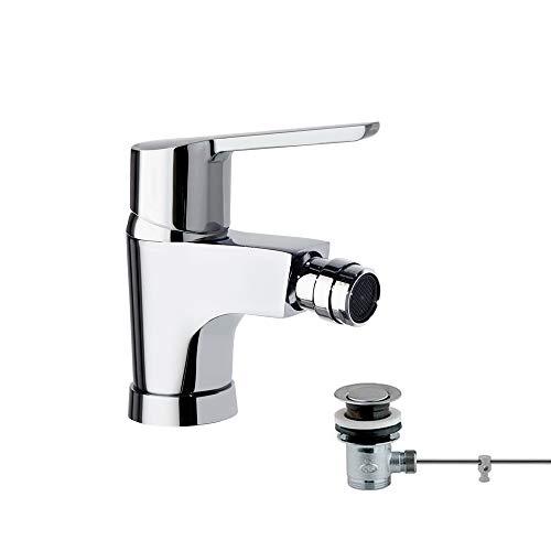 Ramon Soler 46B305038 Atalanta – Monomando de bidé con válvula automática metálica, sistema S2 de ahorro de agua del 50%, limitador de temperatura y cromado Diamond Finish