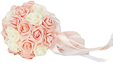 KAY&LAYLA Handmade Wedding Bouquets Artifical for Wedding Blush Pink and Ivory