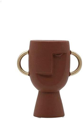 HZY Jarrones Resumen de cerámica florero Nordic marrón y gris humana creativa de la cara Pantalla Forma de habitaciones figuras decorativas Cabeza florero Salón Dormitorio Estudio (Color: Marrón), Col