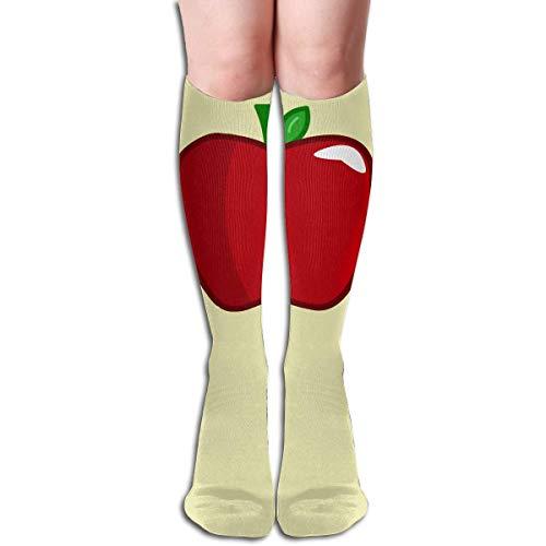 Ljkhas232 Long Socks, Red Cartoon Apple Knee High Socks, Unisex Tube Compression Thigh Sock Crew Athletic Football Stockings