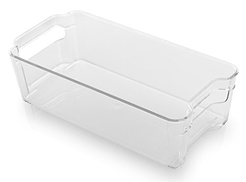 BINO Stackable Rectangular Plastic Storage Organizer Bin, Medium - Clear and Transparent Nesting Container for Home and Kitchen