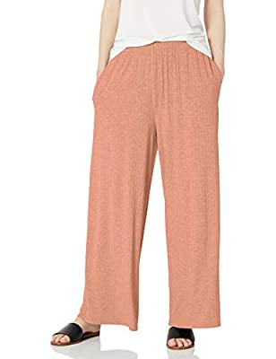 Amazon Brand - Daily Ritual Women's Rayon Spandex Wide Rib Lounge Pant, Clay, X-Small