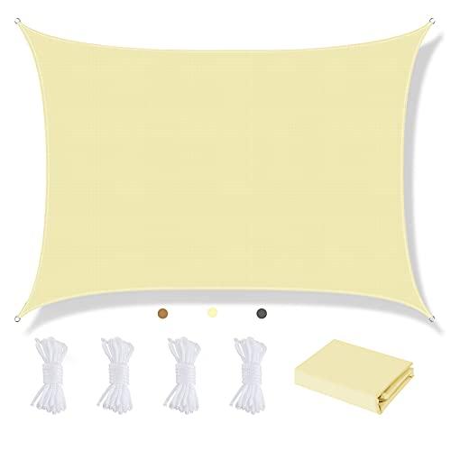 Awroutdoor 2 * 3m Soleil Voile D'ombrage, Rectangulaire Résistance UV à l'usure Auvent D'auvent de Toile Voile Dombrage, d'ombre Protection Soleil pour Jardin Terrasse avec Corde