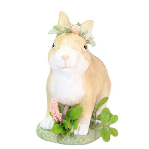 SMEJS Statuetta di coniglio pasquale, scultura di coniglio in resina, statua di coniglio da giardino leggera, ornamenti di coniglio da finestra per desktop per la Pasqua primaverile