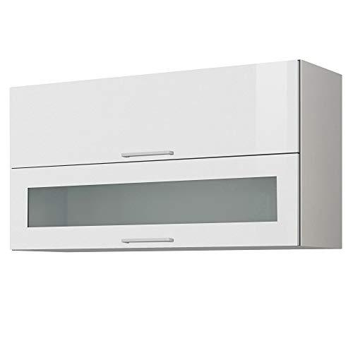 LIVATHA Küchen-Klapphängeschrank MÜNCHEN - Mit Glasklappe - 2-türig - Breite 110 cm - Hochglanz Weiß