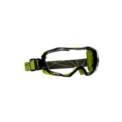 3M GoggleGear 6000 Series Safety Goggle, Green Shroud, Scotchgard Anti-Fog Coating, Clear Anti-Scratch Lens