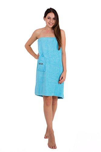 Julie Julsen Saunakilt für Damen 75 x 140 cm Klettverschluss und Gummizug 100% Baumwolle Tasche aufgesetzt Hellblau