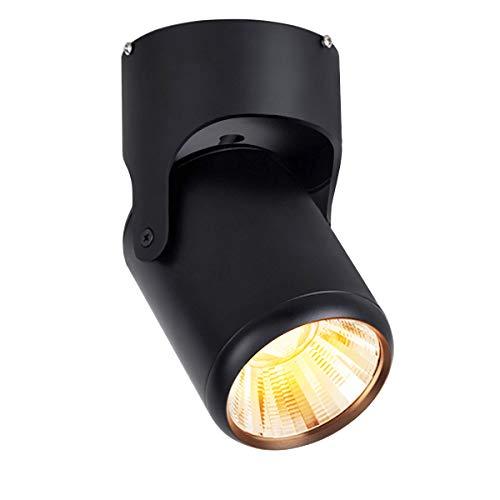 Budbuddy 12W focos led interior lámpara de focos LED barra de focos Orientable luz de techo focos Industrial focos superficie regulable Salón Dormitorio Hall Aluminio (Negro, Blanco cálido)