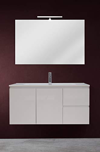 OrionShop Mobile Bagno Sospeso Ariete da 100cm Bianco con Lavabo Specchio e Lampada LED Inclusi