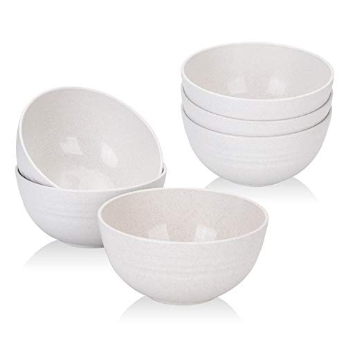 【Set Of 6】 Unbreakable Cereal Bowls 24 OZ Set Wheat Straw Bowls Microwave and Dishwasher Safe BPA Free E-Co Friendly Bowl Beige Color for Cereal, Serving Soup, Oatmeal, Pasta and Salad
