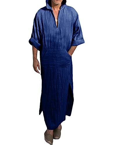 Makkrom Kaftan - Albornoz con capucha para hombre, de lino con cuello en V, con bolsillo, C- azul, Large