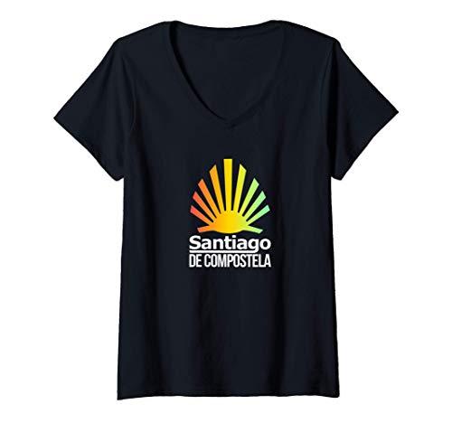 Mujer Camino de Santiago de Compostela Concha De Peregrino Camiseta Cuello V