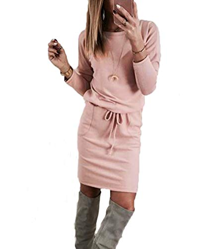 Yutila Damen Langarm Strickkleid Pulloverkleid, Rosa , Gr.- S