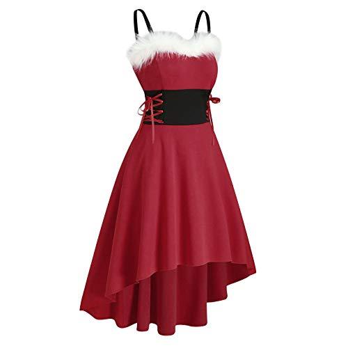 Kobay-Damen Weihnachts Kleid Weihnachten Sexy Strapsrock Eine Schulter...