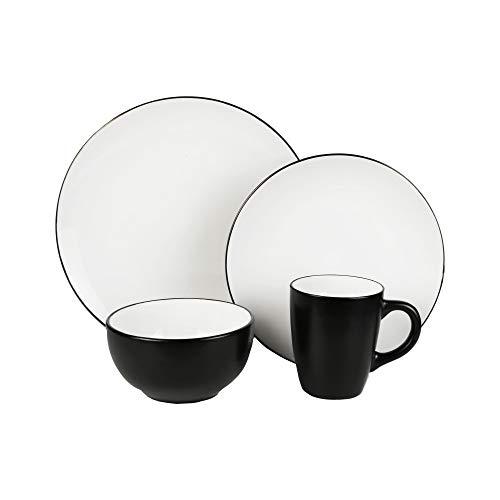 American Atelier Bistro Casual Dinnerware Set – 16-Piece Stoneware Party...