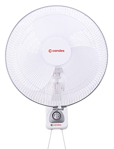 Candes 300mm 3 Blade Automatic Oscillation Wall Fan With 2 Year Warranty, (White Silver)
