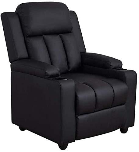 YRRA Poltrona reclinabile reclinabile con portabevande in ecopelle nera per divano singolo reclinabile per soggiorno, ufficio, cinema e videogiochi
