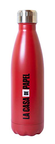 Botella agua acero inoxidable La Casa de Papel - Botella metálica 500ml, Botella térmica reutilizable - Aislamiento Doble Pared, Botella Termica de Frío/Caliente - Producto con licencia oficial