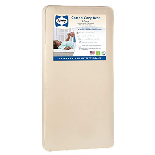 Sealy Baby Cotton Cozy Rest 2-Stage Dual Firmness Waterproof Standard Toddler & Baby Crib Mattress - 204 Premium Coils, 51.7