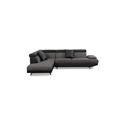 SCOOP XL Canapé d'angle gauche simili et microfibre 4 places - 259x182x80 cm - Gris et noir