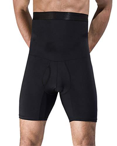 GODGETS Hombre Calzoncillos Bóxer con Faja Reductora para Hombre Ropa Interior Moldeador Pantalones Adelgazante Suave Transpirable Shapewear Negro XL