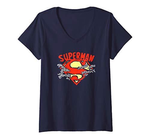 Womens Superman Chain Breaking V-Neck T-Shirt