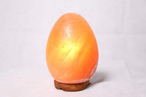 Lámpara de sal del Himalaya lámpara de sal de roca de cristal de forma natural base de madera de alta calidad luz ajustable exquisitos regalos de alta gama (Tipo de huevo)