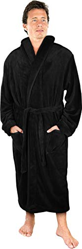 Luxurious Men's Shawl Collar Fleece Bathrobe