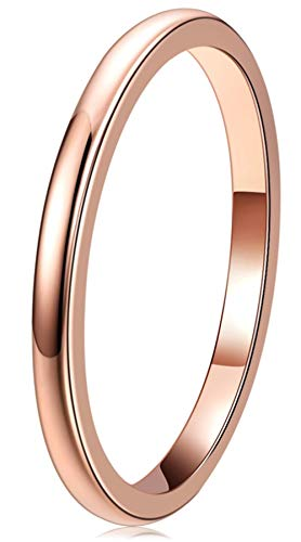 THREE KEYS JEWELRY Women Wedding Bands 2mm Rose Gold Tungsten Carbide Ring with Jewels Domed Polished Infinity Unique for Her Size 5.5