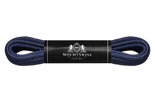 Mount Swiss Luxury Schuhbänder I Wasserabweisende und reißfeste Schnürsenkel rund ø 2-3 mm aus feiner Baumwolle/gewachst Farbe: Navy, Länge: 90 cm