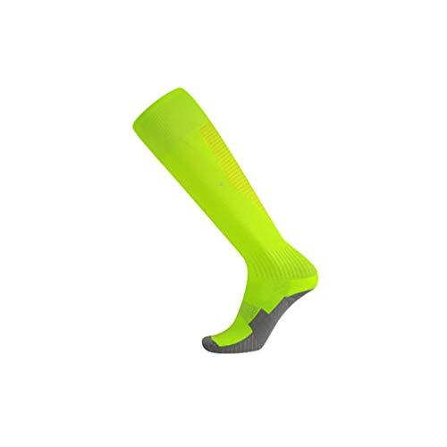 WanYangg Kind Knie Lang Socken Rutschfeste Sportsocken Dicke Deodorant Streifen Stutzenstrümpfe Kompression Basketball/Fußball/Trekking Laufen 2#Fluoreszierender grüner + gelber Streifen Kinder