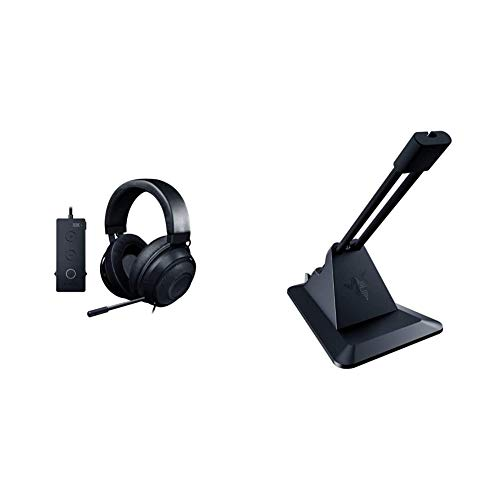 Razer Kraken Tournament Edition THX 7.1 Surround Sound Gaming Headset – Black & Gaming Mouse Bungee v2: Drag-Free Wired Mouse Support - for Esports-Level Performance - Classic Black